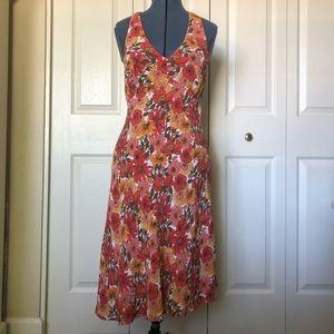Ann Taylor LOFT Pink Floral Halter Dress